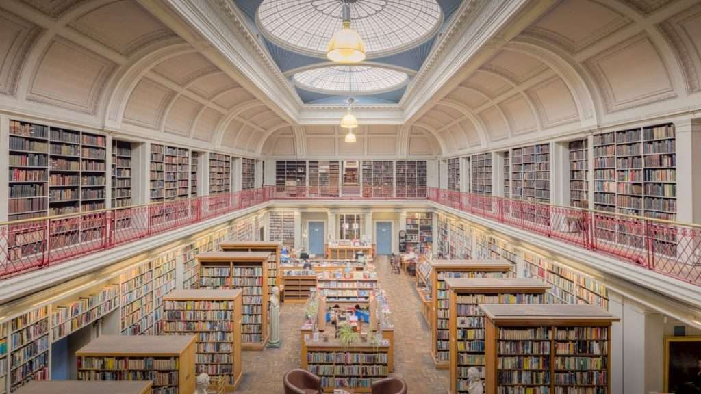 A sea of books in a Library